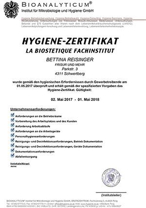 HYGIENE-ZERTIFIKAT FÜR BETTINA REISINGER